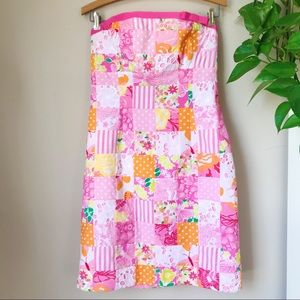 LILLY PULITZER Patchwork Strapless Dress Pink XS S
